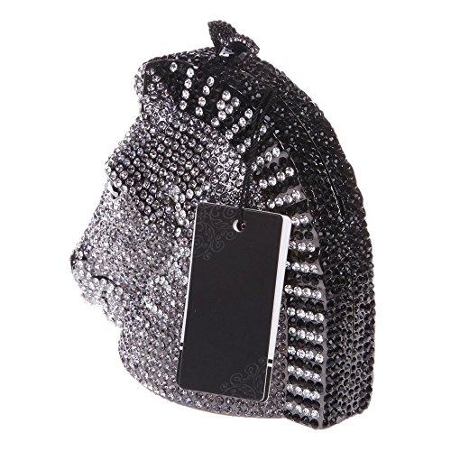 Santimon Donna Pochette Borsa 3D Testa Di Cavallo Strass Borsellini Borse Da Festa di Nozze Sera Con Tracolla Amovibile 3 Colori nero