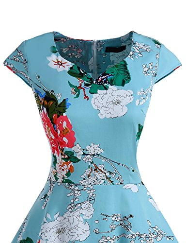 Dresstells Vintage 50er Swing Party kleider Cap Sleeves Rockabilly Retro Hepburn Cocktailkleider Floral