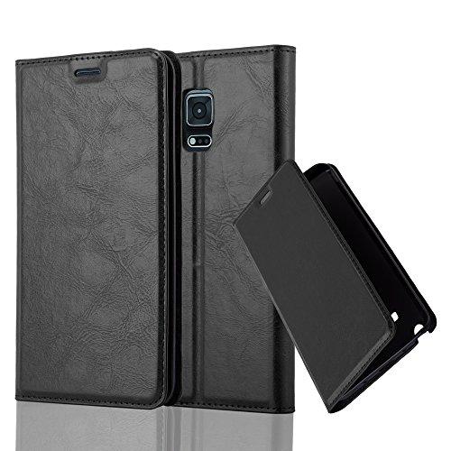Cadorabo Samsung Galaxy Note Edge Funda de Cuero Sintético IMÁN Invisible en Negro Antracita Cubierta Estilo Libro con Cierre Magnético, Tarjetero y Función de Suporte Etui Case Cover Carcasa