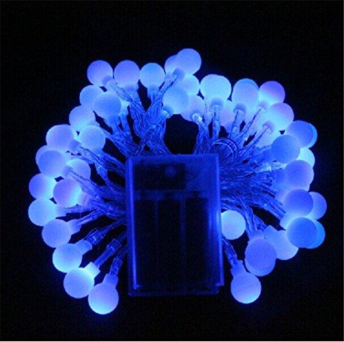 Happyit 6 meter 40-lampen Batterie Fall LED Ball Lichterketten für Neujahr Weihnachtsschmuck Hochzeit Hausgarten Dekoration Lichter (Blau)