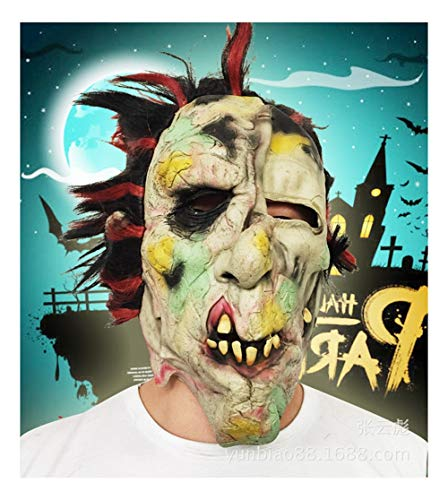 SCLMJ Horror Rotes Haar, Faules Gesicht Monster Latex Maske Halloween Party Scary Und Seltsame Requisiten