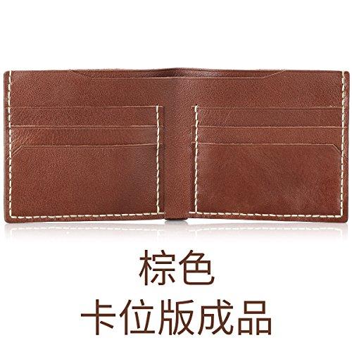 HOOM-Homme sac à main en cuir fait main bricolage créatif wallet purse,couleur kaki b Brown c