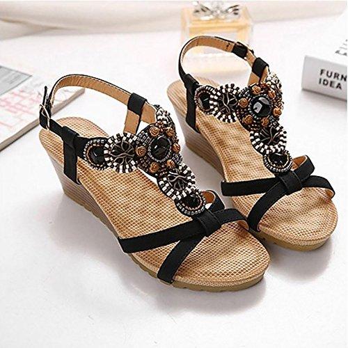 COOLCEPT Femmes Mode T-Strap Sandales Orteil Ouvert Compenses Heel Slingback Chaussures Noir
