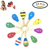 #10: Pack of 12 Wooden Maracas Wood Rattles Perfect for Starting Percussionist and Kid Baby Shaker Sand Hammer Toy, Random Color Pattern