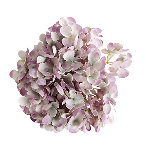 Amorar Künstliche Hortensien Blütenköpfen Seiden-Blumen Kunstblumen Strauß Blumenstrauß Bouquet für Wohnung Home Hochzeit Garten Floral Decor (Strauß Seidenblumen)