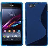 PhoneNatic Case für Sony Xperia Z1 Compact Hülle Silikon blau, S-Style + 2 Schutzfolien