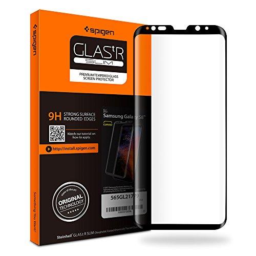 Spigen Samsung Galaxy S8 Panzerglas, Schwarz, Volle Abdeckung, Hüllenfreundlich, Easy Install Kit, 9H gehärtetes Glas, Antikratz, Glas 0.33mm, Galaxy S8 Schutzfolie (565GL21779)