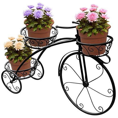 Da-upup Blumentopfwagen-Halter, Sukkulentenständer, Eisen-Fahrrad-Topfpflanzenhalter für Gartendekor Innen- und Außenpflanzenspeicher, schwarz, Black - Eingangsbereich Bank, Regal