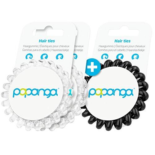 Original Papanga® Spiral Haargummis, 2+1 Vorteils-Pack, Classic Edition, Größe: Big, Farben: 2 x Diamond + 1 x Black (Haargummi Big Pack)