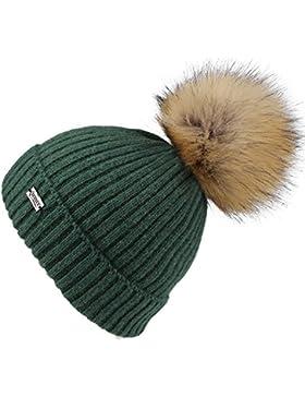 FURTALK Pom Pom sombreros para mujer se帽oras Invierno gorro de punto Bobble Hat angora lana Beanie