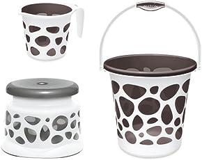 Milton Bath Duplex 25L Bucket with Mug and Stool(Grey)