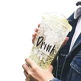 Bebidas heladas Vaso de la taza con tapa y pajitas - Cono de helado de doble pared, copas de batido, vasos de batido, vasos aguados, vasos helados Bebidas sin BPA -15 oz, amarillo