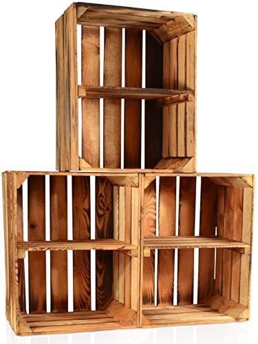 CHICCIE 3 Set Geflammte Obstkisten - Kurze Ablage Holzkisten Weinkisten Holz Kisten Apfelkisten Obstkiste Gebrannt