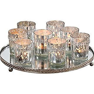 Table Top Centerpiece, Set of 9 Pieces, Includes 1 Mirrored Glass and Silver Metal Candle Tray 28 cm, 8 Candle Cups, Mirrored, Rhinestones