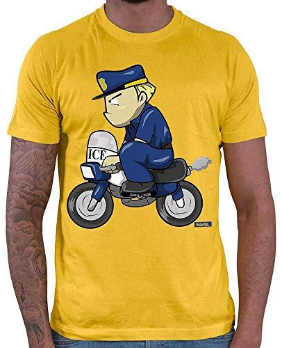 HARIZ Herren T-Shirt Polizist Lustig Motorrad Polizei Cops Plus Geschenkkarten Gold Gelb S
