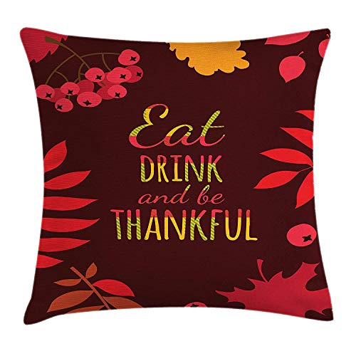DHNKW Be Thankful Throw Pillow Cushion Cover, Maple Leaves Berries Revival Harvest Thanksgiving and Sharing Concept, Decorative Square Accent Pillow Case, 20 X 20 inches, Burgundy Apricot Red -