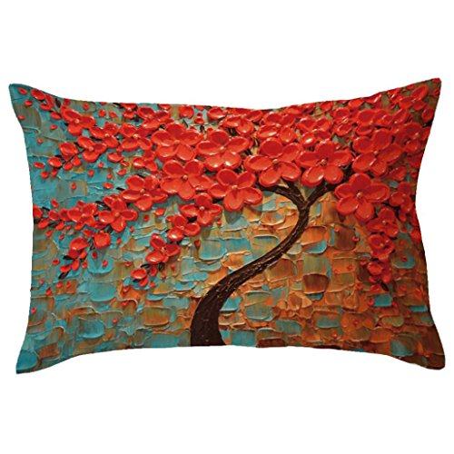 Indexp Rectangle Tree Pattern Printing Throw Cushion Cover Sofa Home Decoration Pillow case (Style J)