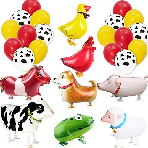 Jollyboom Mickey und Minnie Mouse Party Supplies rot und schwarz Mickey und Minnie Mouse Luftballons Alles Gute zum Geburtstag Banner für Jungen mädchen Geburtstag Baby Shower (2. Barnyard Geburtstag)