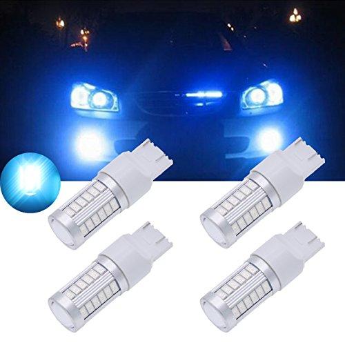 TUINCYN 7443 7444NA Blau 5630 33SMD LED Leuchtmittel Zusatzbremsleuchten 900 Lumen Hell Brems Stop Parklicht, Blinker Birne, Seitenmarkierungsleuchte DC 12V 3,6W (4er Pack)