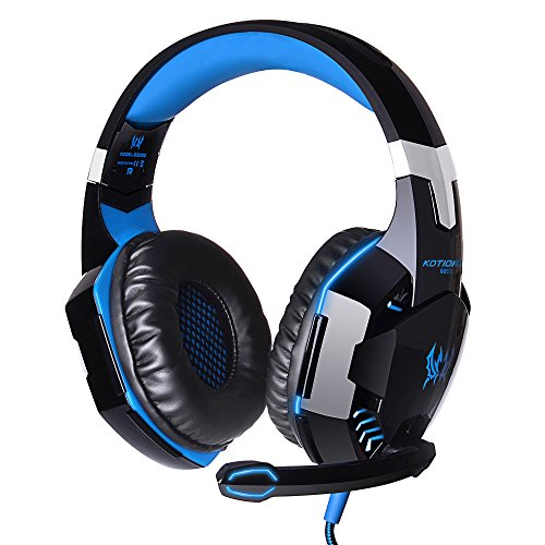 KOTION EACH da Gioco Cuffia Gaming a Padiglione con Microfono Stereo Bass LED Luce Regolatore di Volume per PC ...