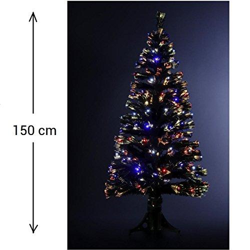 DECORACION NAVIDAD - Arbol de Navidad artificial luminoso de fibra óptica + 170 LED - Entregado con su pie - Juegos de luces con teclado de control - Altura 150 - Color NEGRO