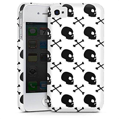 Apple iPhone 4 Housse Étui Silicone Coque Protection Têtes de mort Noir et blanc Motif Cas Premium mat