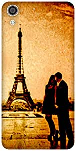 The Racoon Grip Couple at Effiel Tower (Love) hard plastic printed back case / cover for HTC Desire 728