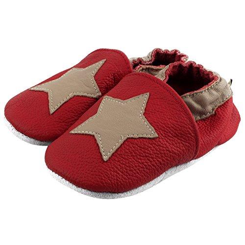 Freefisher Lauflernschuhe, Krabbelschuhe, Babyschuhe - in vielen Designs Stern auf Rot