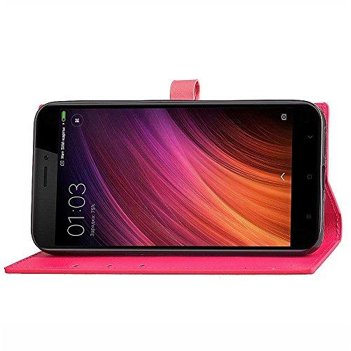 Slim Premium PU Leder Brieftasche Case Horizontale Flip Stand Schutzhülle mit Card Slots und Niet Gürtelschnalle Closure für Xiaomi Hongmi 4X ( Color : Wine ) Rose