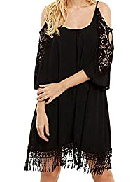 Chouette Femme Mini Robe Crochet Manches 3 4 Sans Bretelle Tunique T-Shirt  Tops 29373d87db75