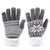 Handschuhe Damen Herren Wollhandschuhe Schneeflocke warme Gestrickte Strickhandschuhe dicke Fingerhandschuhe weich Damenhandschuhe touchscreen iPad iPhone Smartphone Handy Winterhandschuhe Outdoor fa