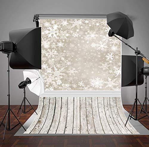 e Polyester Klappbar 3x3m Fotografie Hintergrund grau rustikale Holz Fotohintergrund Weihnachten Schneeflocke Fantasie kulissen Hintergrund Foto Studio Requisiten ()