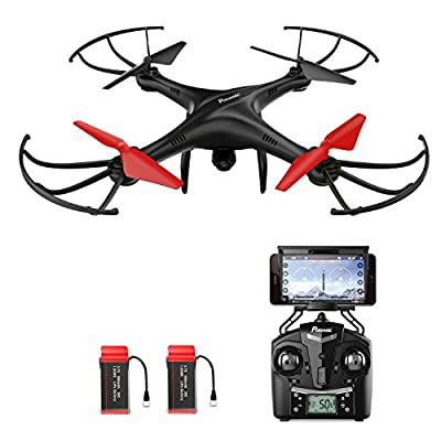 Drone with HD Camera, Potensic® U48WH Wireless FPV 2.4Ghz RC Quadcopter RTF Altitude Hold UFO with Newest Hover and 3D Flips Function, WiFi Camera(TF Card & Card Reader Included)