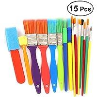 YeahiBaby 15pcs cepillos de Pintura Tempera de los niños y cepillos de Pintura del Artista para Cuartos de Arte del jardín de la Infancia