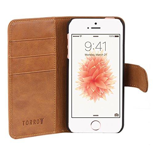 Etui de TORRO pour iPhone SE / iPhone 5, étui portefeuille brun clair/tan, en cuir de vache véritable des Etats Unis pour iPhone SE / iPhone 5 / 5S Marron 'Tan'