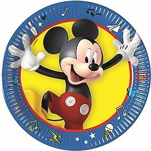 PROCOS 90959 - Platos de cartón para Fiestas (8 Unidades), diseño de Mickey Mouse, Color Azul, Amarillo, Negro y Rojo