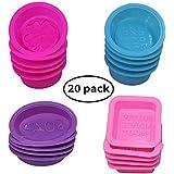 20 piezas jabón silicona que hace moldes, cuadrado redondo ovalado forma, FineGood suave mollete magdalena hornear pan arte hecho casa bricolaje, grado alimenticio - rosa, azul, rojo rosa, púrpura