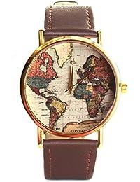 Vintage mapa del mundo reloj