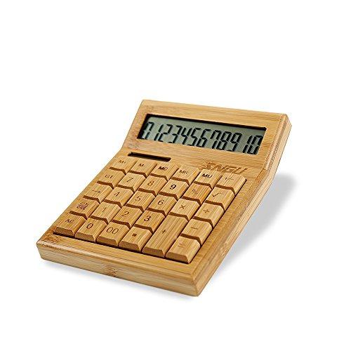 Sengu funktionaler Tischrechner mit Solarbetrieb, Bambus-Taschenrechner mit großem Display mit 12 Ziffern 12 Display-taste