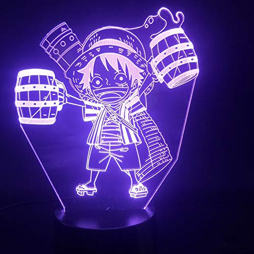 Zhuhuimin 3D-Licht Cartoon japanischen Comic EIN Ruffy Drink Wecker Basis Atmosphäre batteriebetriebenes USB LED Nachtlicht