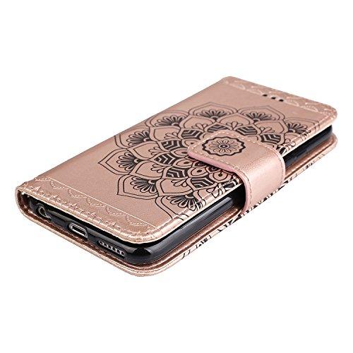 Coque iPhone 6 Plus, Coque iPhone 6S Plus, Étui en Cuir de Protection Housse Étui iPhone 6 / 6S Plus, Mandala Coque Apple iPhone 6 / 6S Plus Wallet Housse, BONROY PU Leather Case Wallet Flip Protectiv Or rose