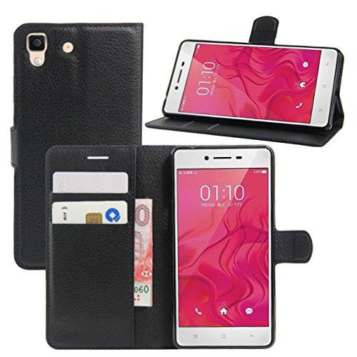 HualuBro Oppo R7 Hülle, [All Aro& Schutz] Premium PU Leder Leather Wallet HandyHülle Tasche Schutzhülle Flip Case Cover mit Karten Slot für Oppo R7 Smartphone (Schwarz)