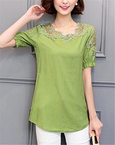 Gogofuture Donne Bluse Sexy Manica Corta Maglietta con Pizzo Cavo T-Shirt Vintage Camicetta Moda Camicie Tops Bonitas Green