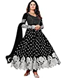 SweetiePie Fashion Faux Georgette Semi Stitched Dress Material ( Georgette) (Black)