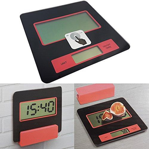 Power-Preise24 Digitale Küchen-Waage mit Wandhalterung Digital-Waage 2 g - 5000 g elektronische Waage mit Batterien LCS Display Sicherheitsglas-Platte Brief-Waage auch als Küchenuhr verwendbar (Brief-platte)