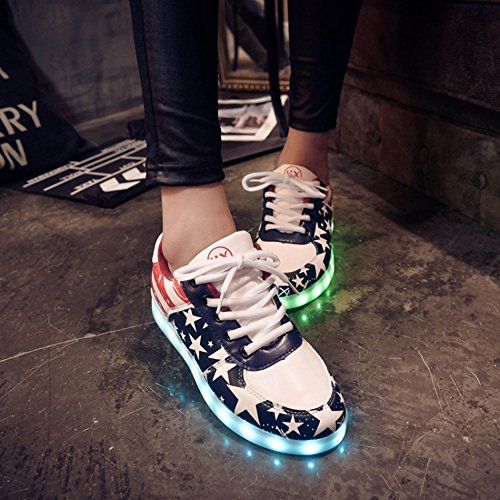 DoGeek Chaussure Baskets Lumineuse Homme Femme -7 Couleurs LED Lumière Chaussures Unisex Baskets Mode- USB Rechargeable - Pour Adult Rouge