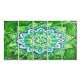 Bild Bilder auf Leinwand Abstrakt grün gemaltes Bild mit Kreismuster, Mandala von Anahata Chakra Wandbild Leinwandbild Poster