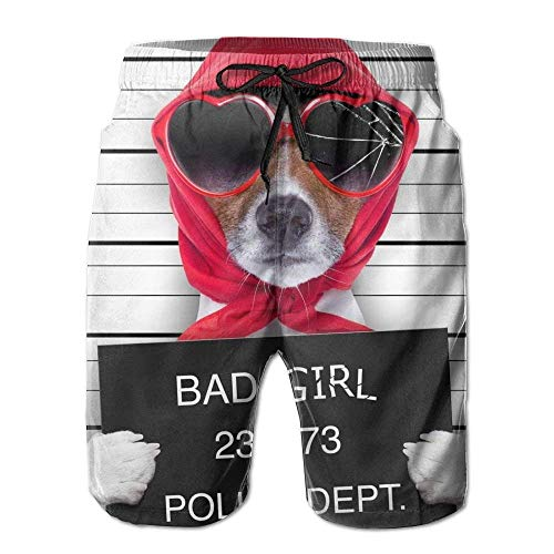 KKONEDS Beach Shorts, Funny Dog Bad Girl Beach Coverup Shorts for Men Boys, Outdoor Short Pants Beach Accessories, Medium (Compression Bad Shorts Boy)
