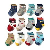 YoungSoul 12 Pairs Little Boys Non Slip Anti Skid Socks with Grips, Colored Socks for Toddlers, 02, 3-5 Years