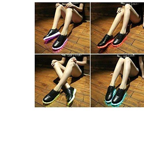 [Present:kleines Handtuch]JUNGLEST® 7 Farbe LED Leuchtend Sport Schuhe Sneaker USB Aufladen Turnschuhe für Unisex Herren Dame Schwarz